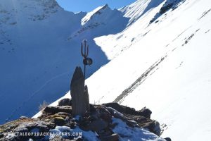 Trident at snowy peak of Roopkund Trek