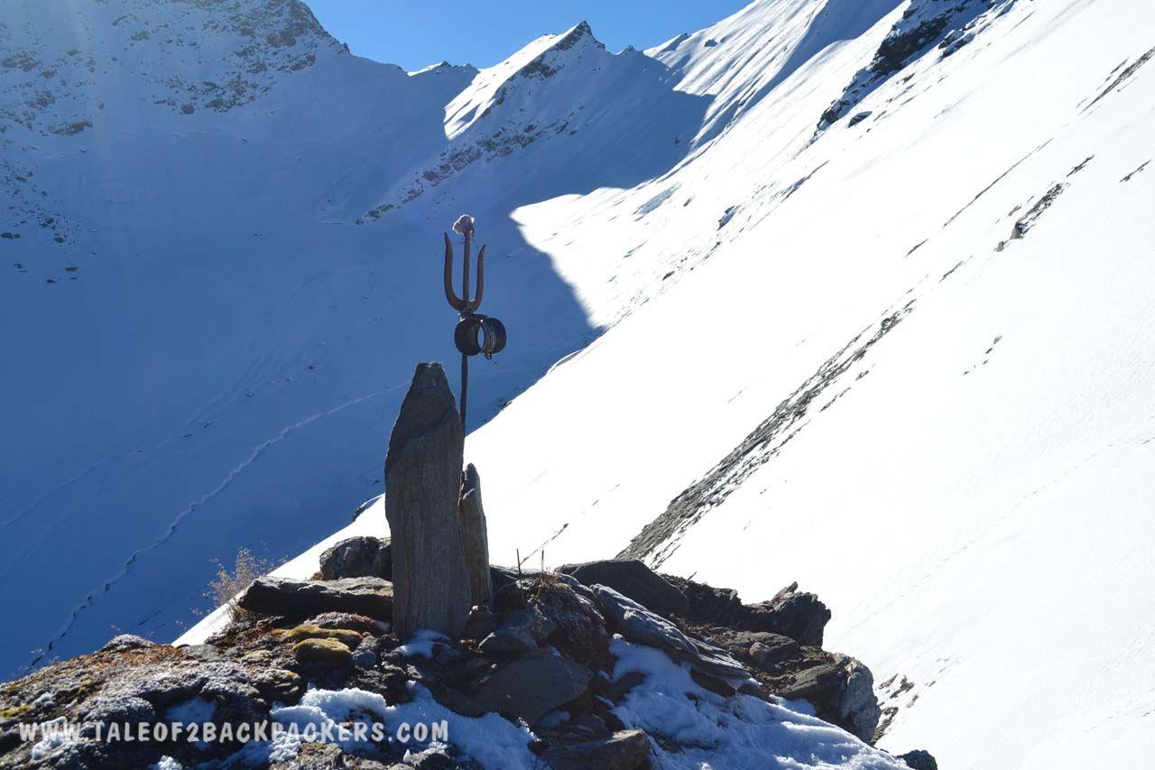 Trident at snowy peak of Roopkund Trek