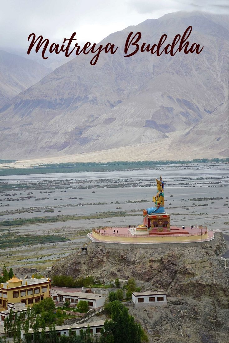 View of Maitreya Buddha from Diskit Monastery in Nubra Valley Ladakh