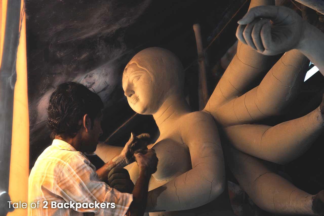 Kumartuli idol makers working