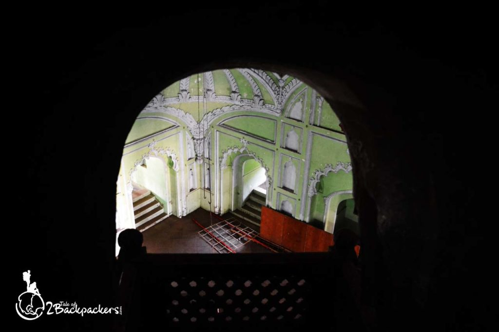 View of the Persian Hall from the arched window of the bhulbhulayia or Labyrinth at Bada Imambara, Lucknow