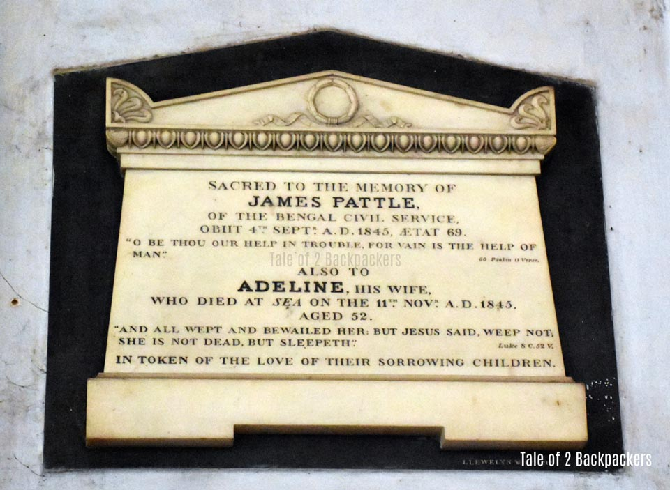 Memorial of James Pattle and his wife at St John's Church