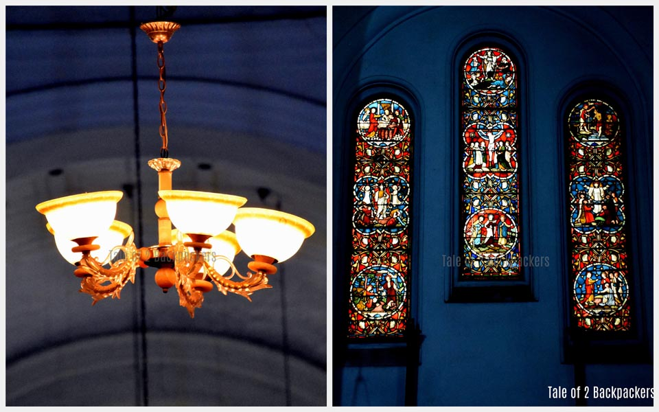 Stained glass and chandelier at St John's Church Kolkata