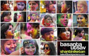 Different faces smeared with colour during Holi in India - faces of Holi