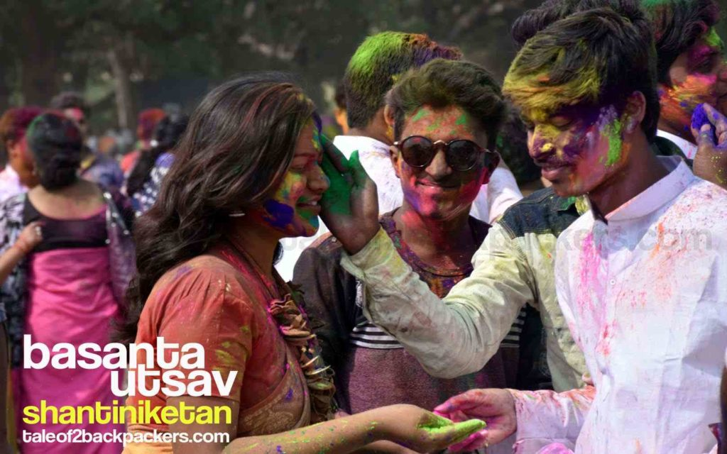 People playing Holi at Basanta Utsav in Shantiniketan