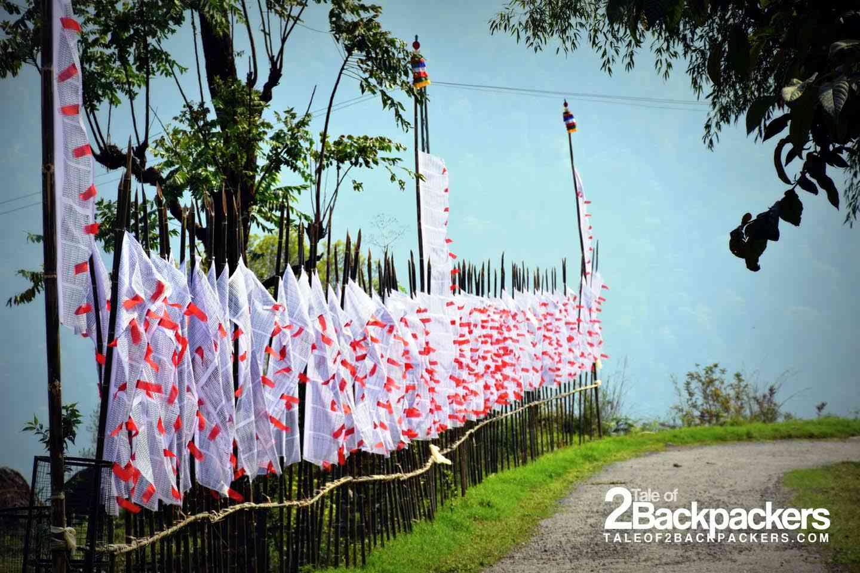 Prayer flags fluttering in wind at Dzongu
