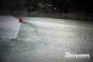 crossing the lake by raft at Dzongu