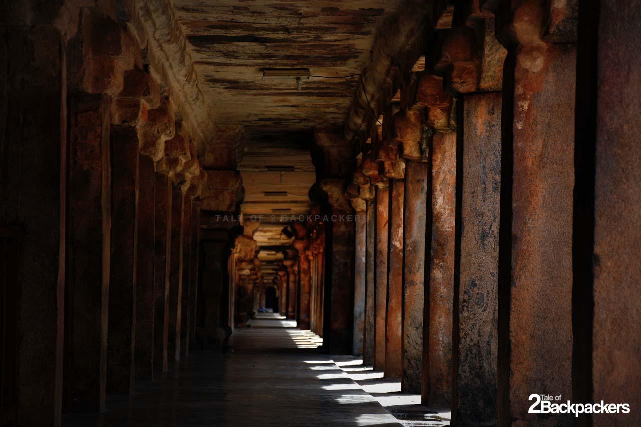 Corridors at Cloister Mandapam at Brihadeshwara Temple Thanjavur