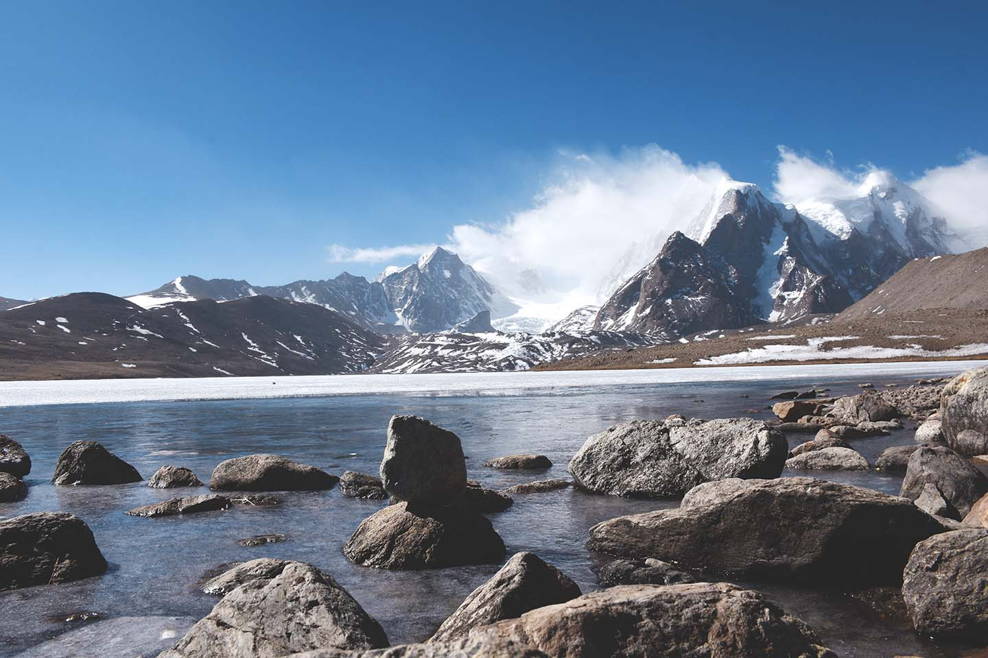 Gurudongmar Lake surrounded by snow capped mountains
