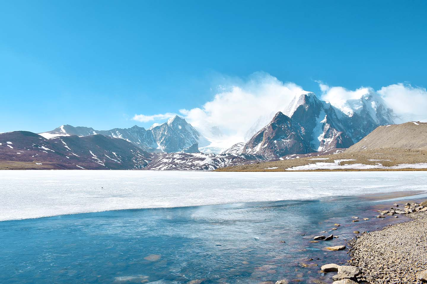 Partially frozen Gurudongmar Lake, Lachen, North Sikkim