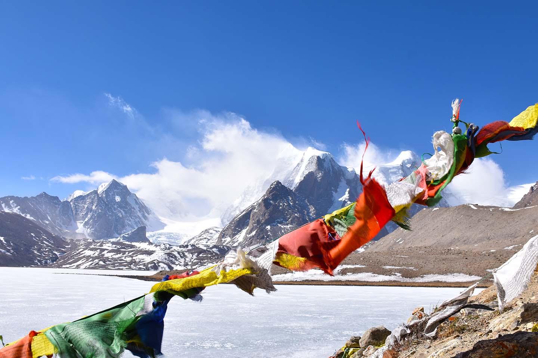 Prayer flags at Gurugongmar Lake, North Sikkim