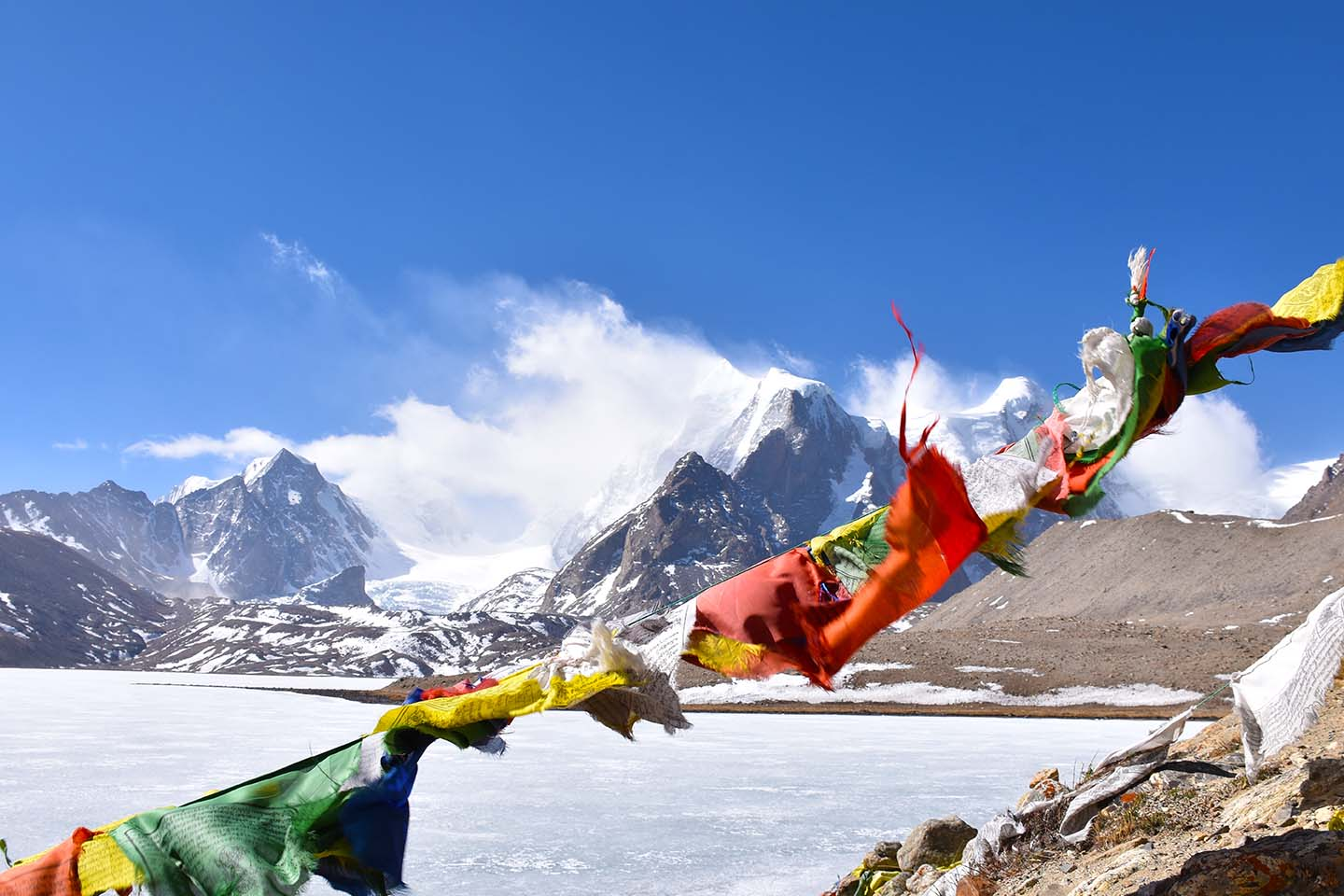 Prayer flags at Gurugongmar Lake, North Sikkim