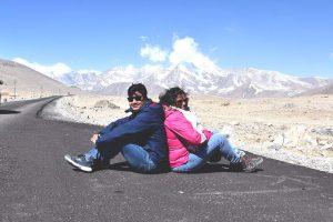 Agni & Amrita on the roads to Gurudongmar Lake, North Sikkim
