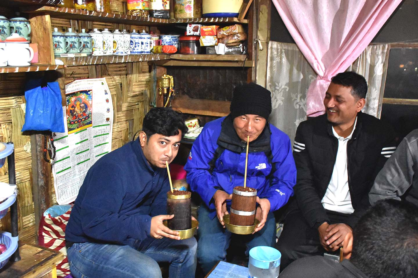 Enjoying a glass of Chee (local alcoholic drink) at Lachen, North Sikkim