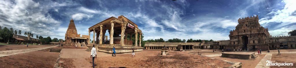 Panoramic view of the Brihadeeswarar Temple at Thanjavur