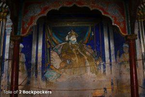 Potrait of Maharaja Serfoji inside the Durbar Hall of Thanjavur Palace