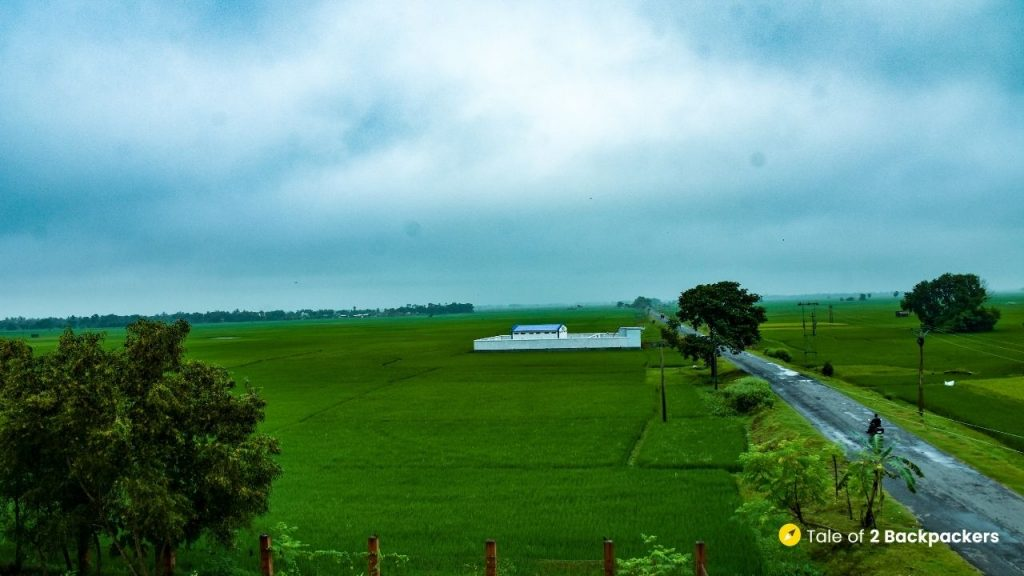 View from the terrace of Shantiniketan Homestay in Singee