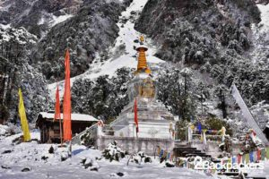 Yumthang Valley in North Sikkim covered in snow