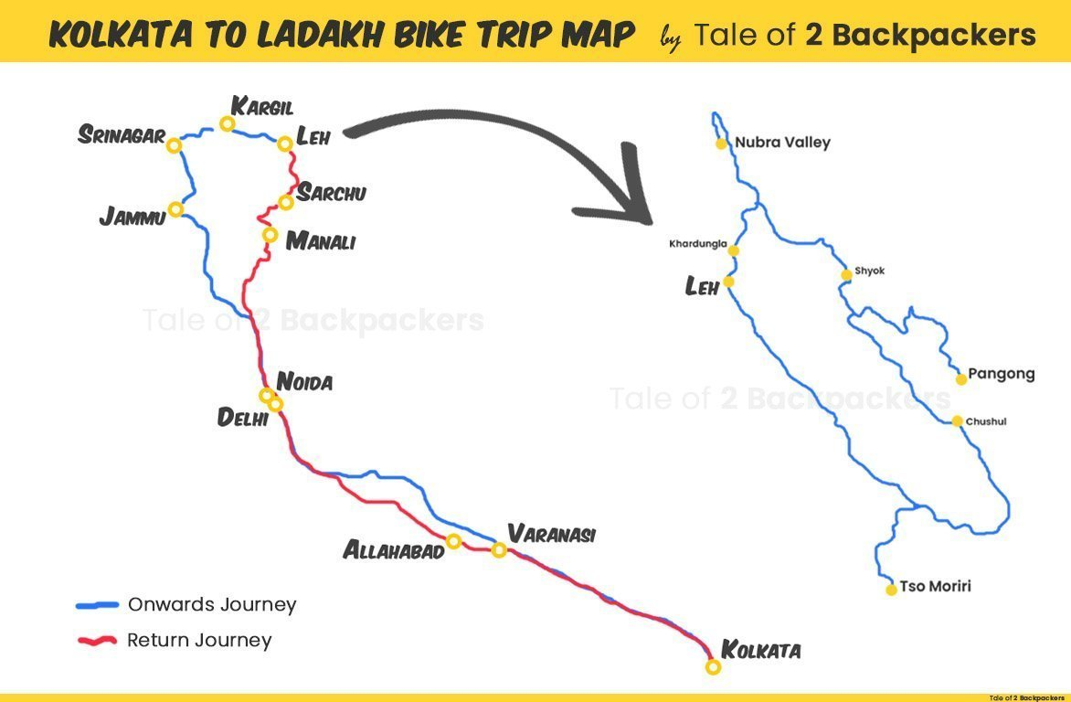 Kolkata to Ladakh Bike Trip Map