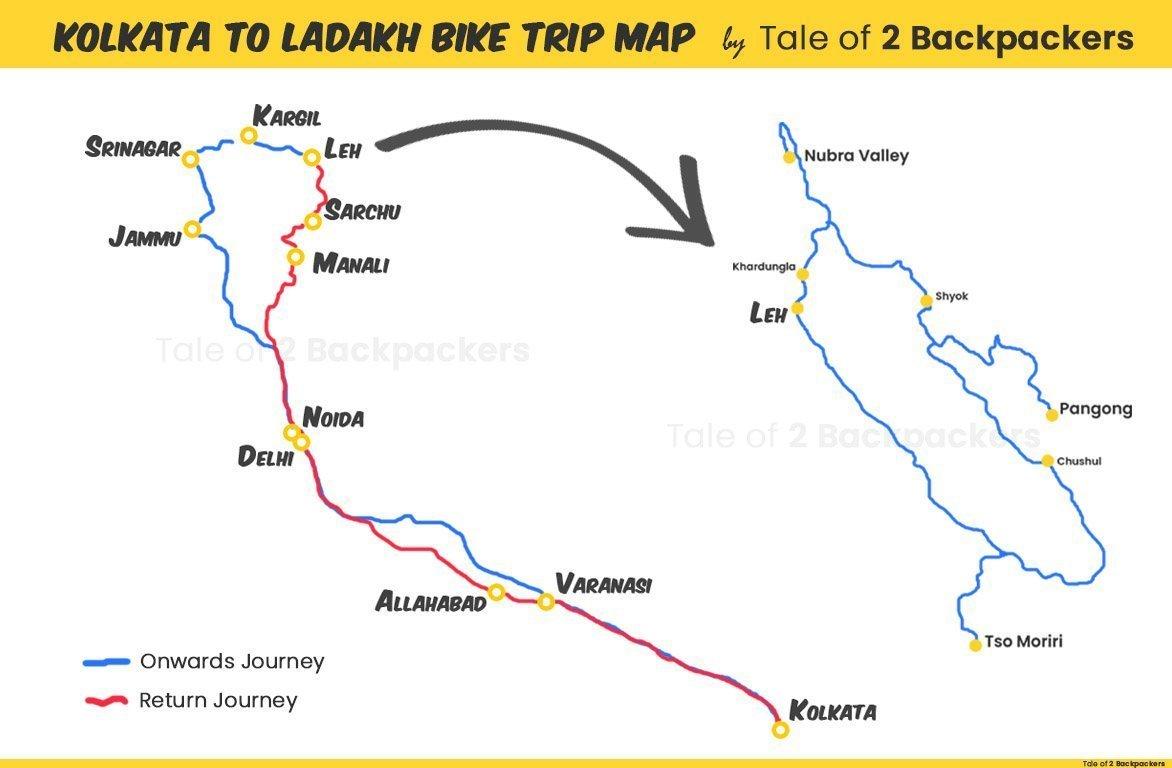 Kolkata to Ladakh Bike Trip Map