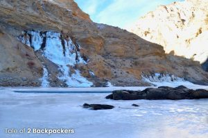 A frozen waterfall at chadar Trek
