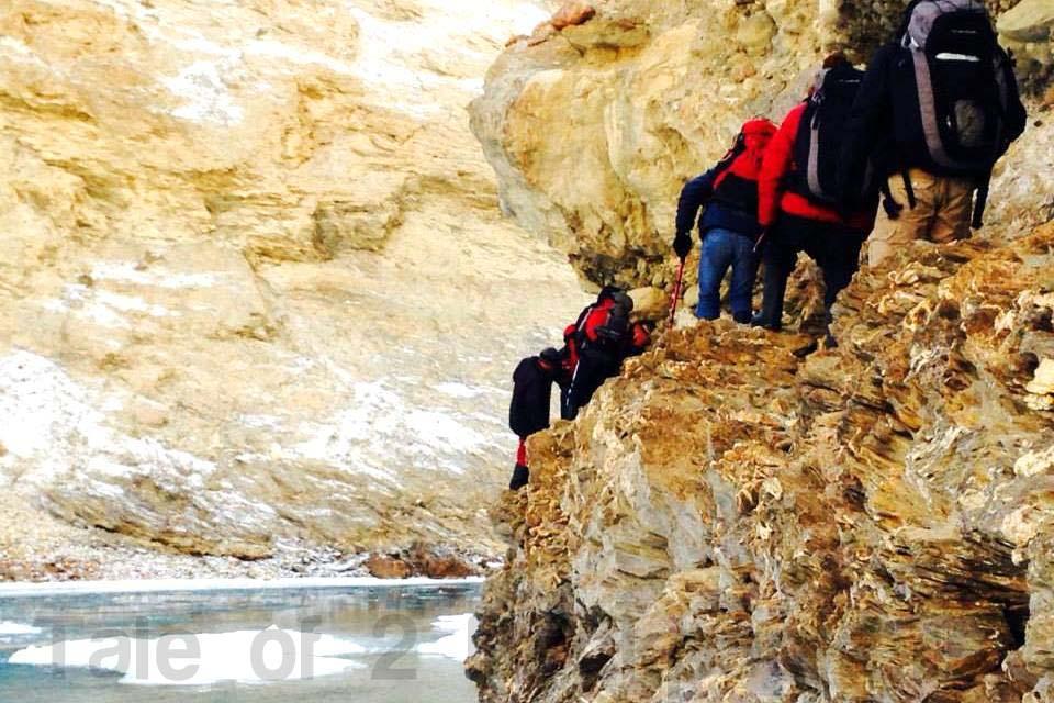 Climbing over the mountain to avoid broken Chadar