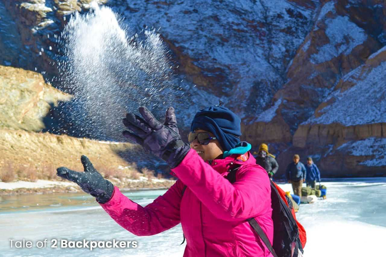 Playing with the snow at Chadar Frozen River Trek