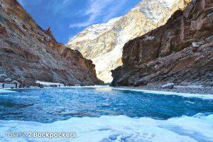 Broken ice blanket or chadar at Chadar Trek
