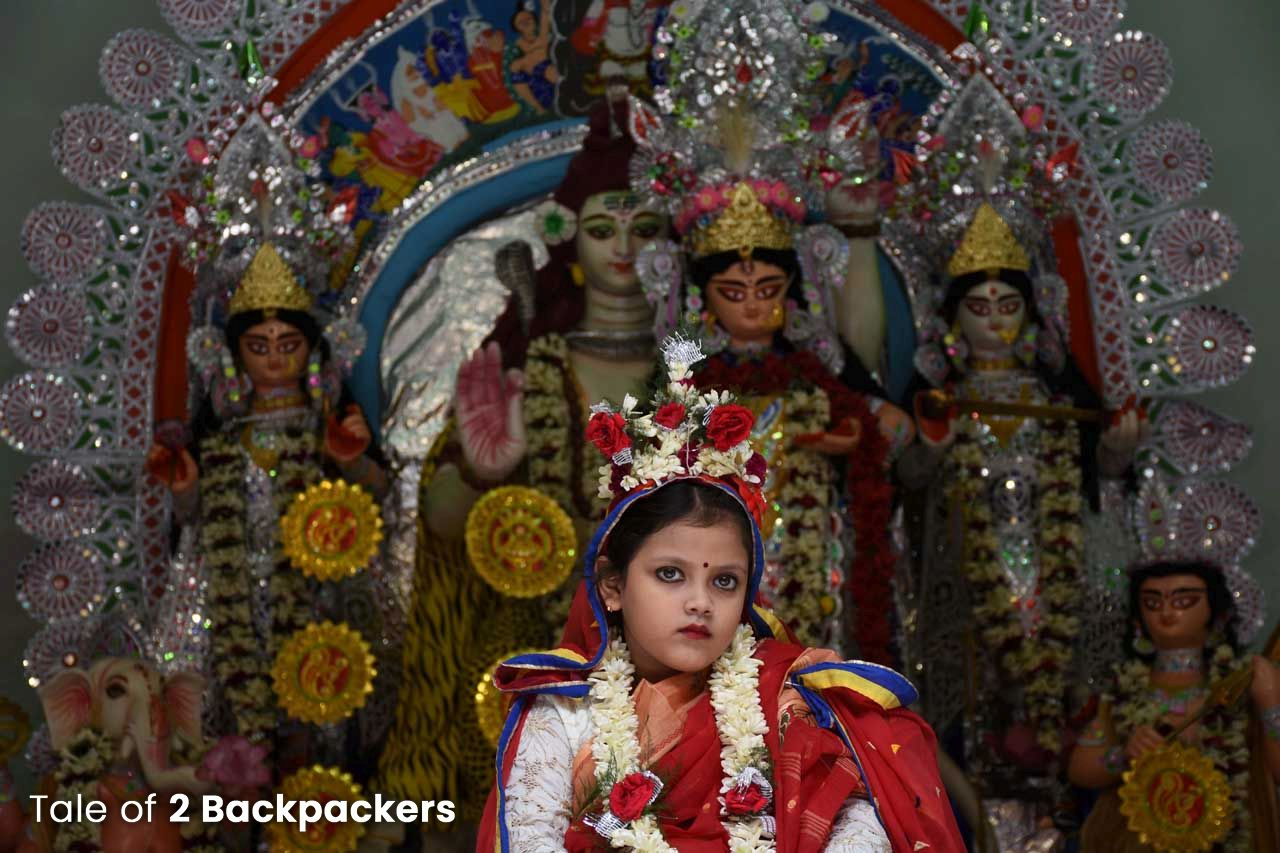 Kumari Puja at Bholanath Dham Kolkata - Bonedi Barir Durga Puja in Kolkata