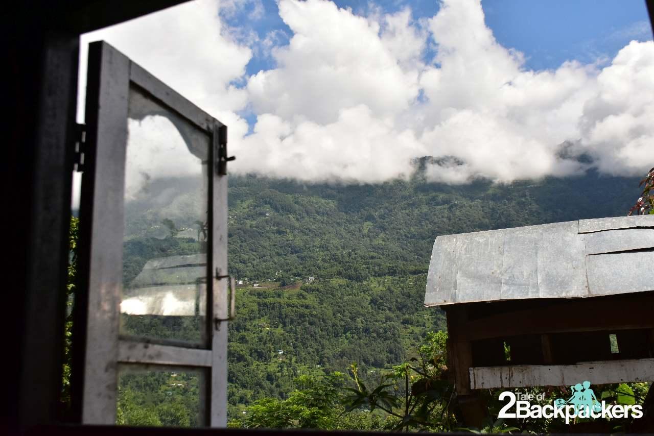 View from kitchen at Pradyumna Homestay at Bermiok Martam, West Sikkim