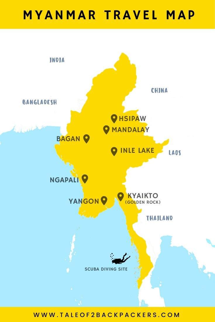 Myanmar Tourist Map