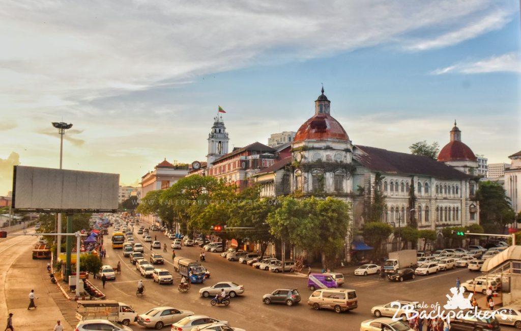 busy roads of Yangon - another stop in our backpacking Myanmar trip