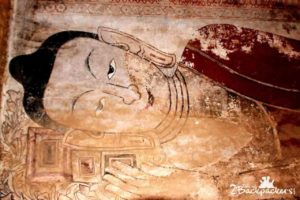 Frescoes at temples of Bagan Myanmar