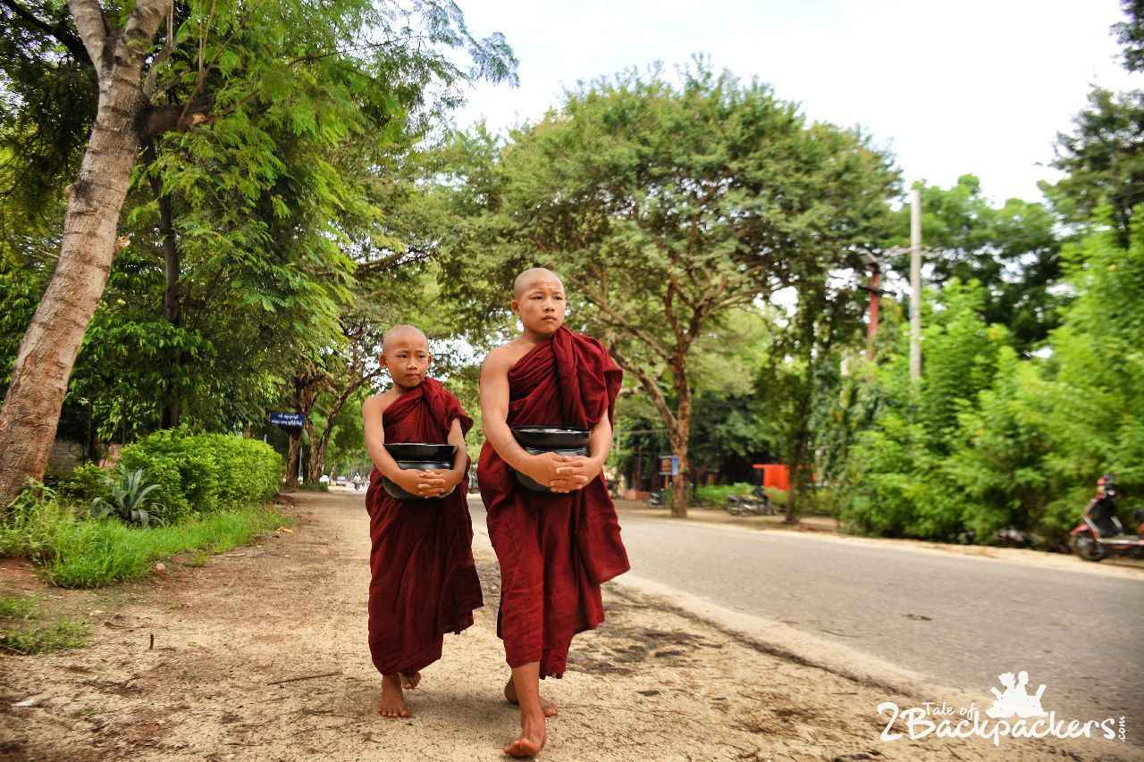 Young monks on the roads of Bagan in Myanmar