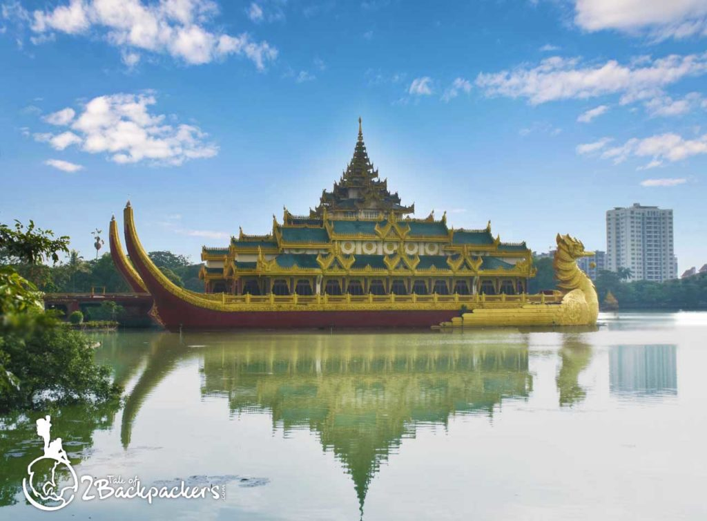 Karaweik Palace at Kandawagyi Lake - it is one of the top things to do in Yangon