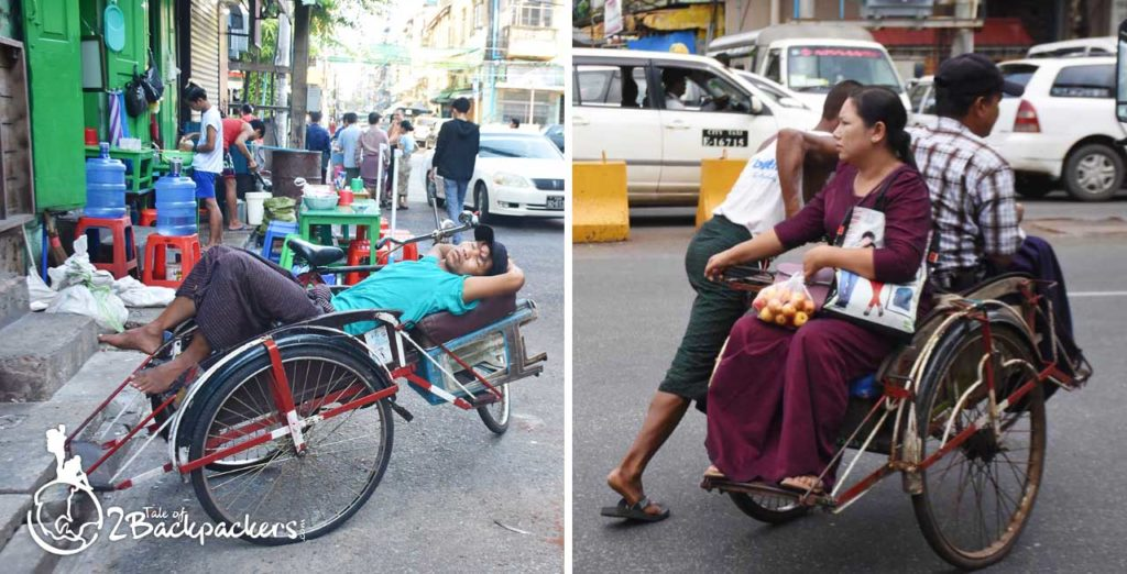 Trishaws are used by the locals to move around at Yangon