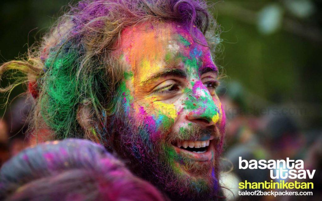 A smiling face celebrating Basanta Utsav at Shantiniketan