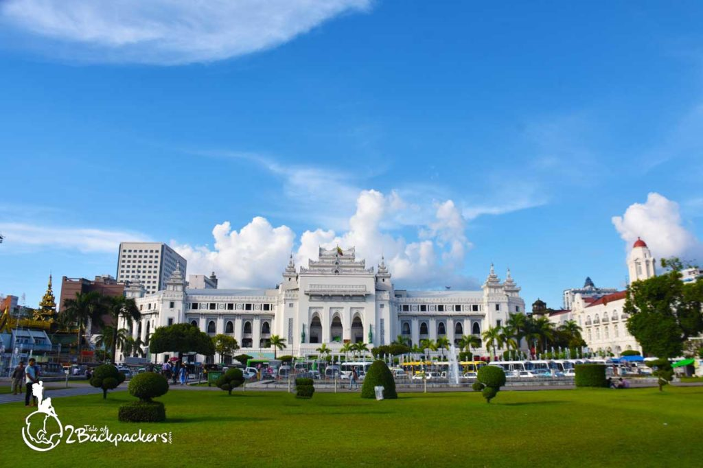 The CEntral Hall in front of Mahabandoola Park in Yangon _ Yangon Travel Guide