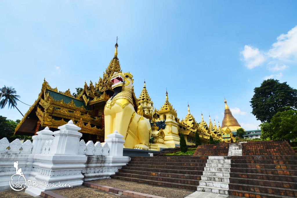 The front view of Shwedagon Pagoda - One of the best attractions of Yangon
