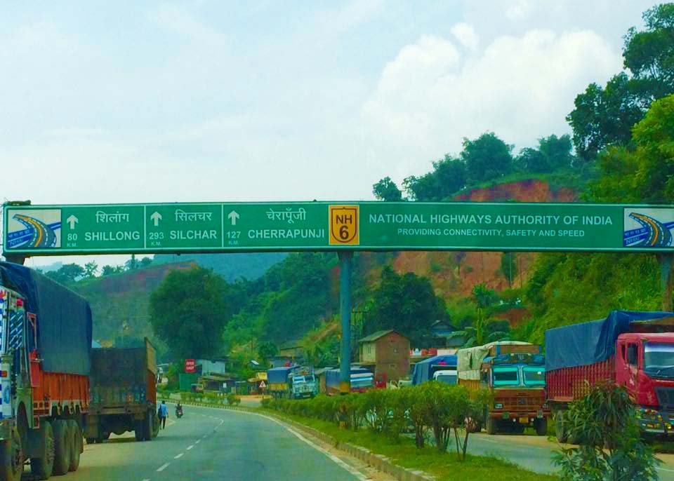 Meghlaya roads - the signpost showing the distance in our Meghalaya bike trip