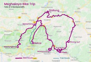 Meghalaya Bike trip Map _ Meghala trip map