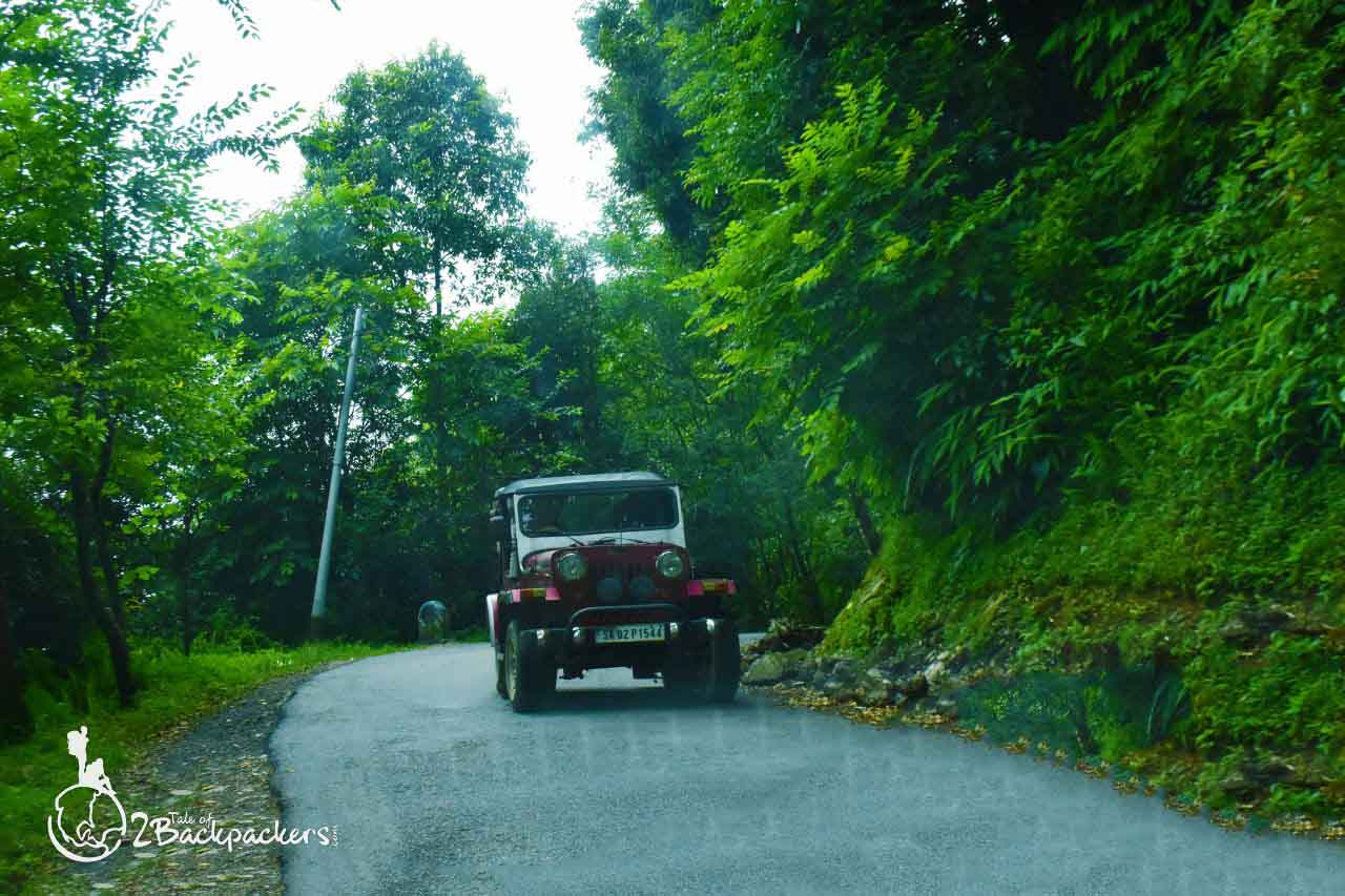 A jeep on the roads of Sikkim - Kewzing - an offbeat destination in Sikkim