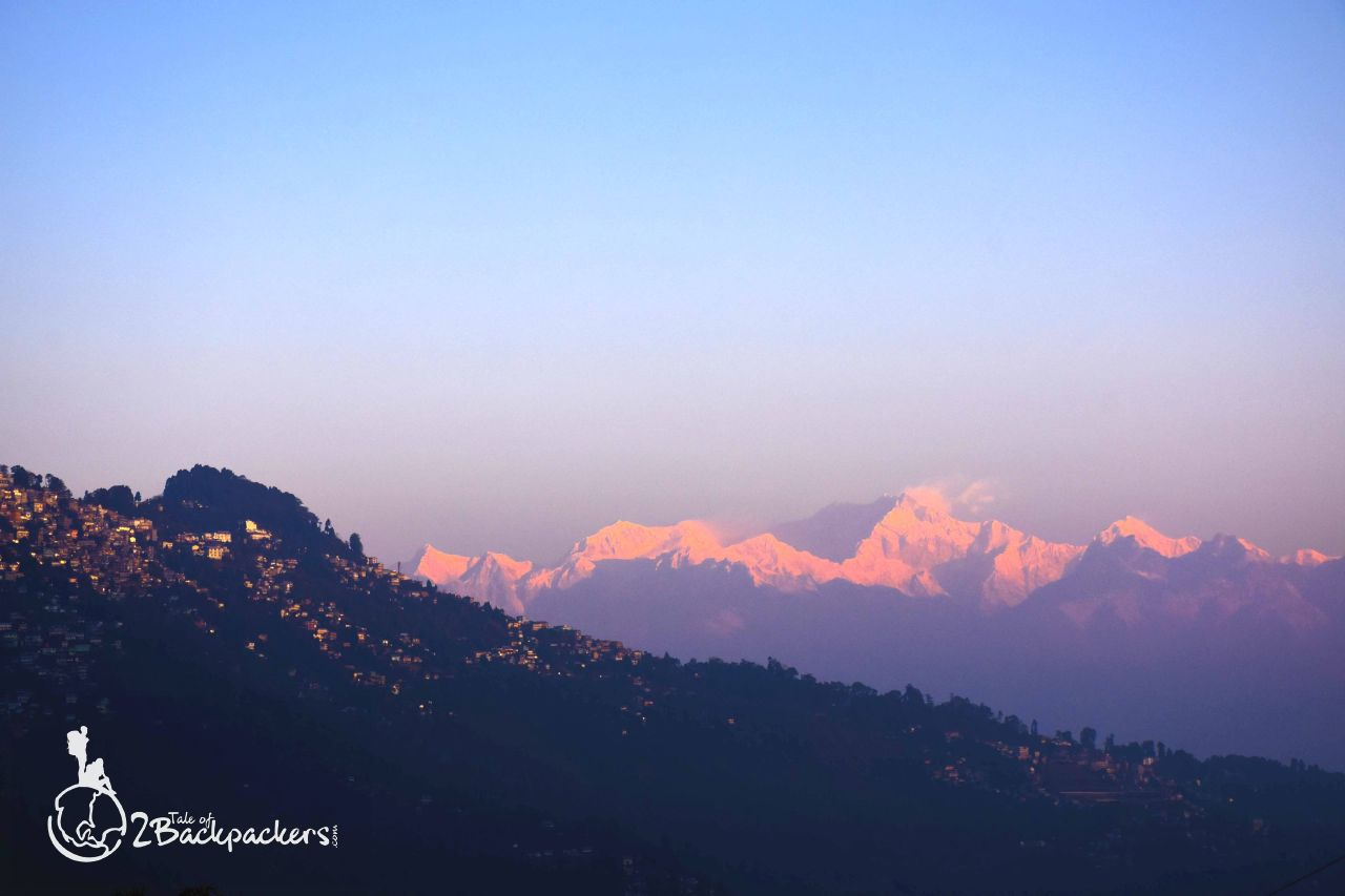 View of Darjeeling town and Kanchenjunga ranges at Rangaroon - an offbeat weekend destination near Darjeeling