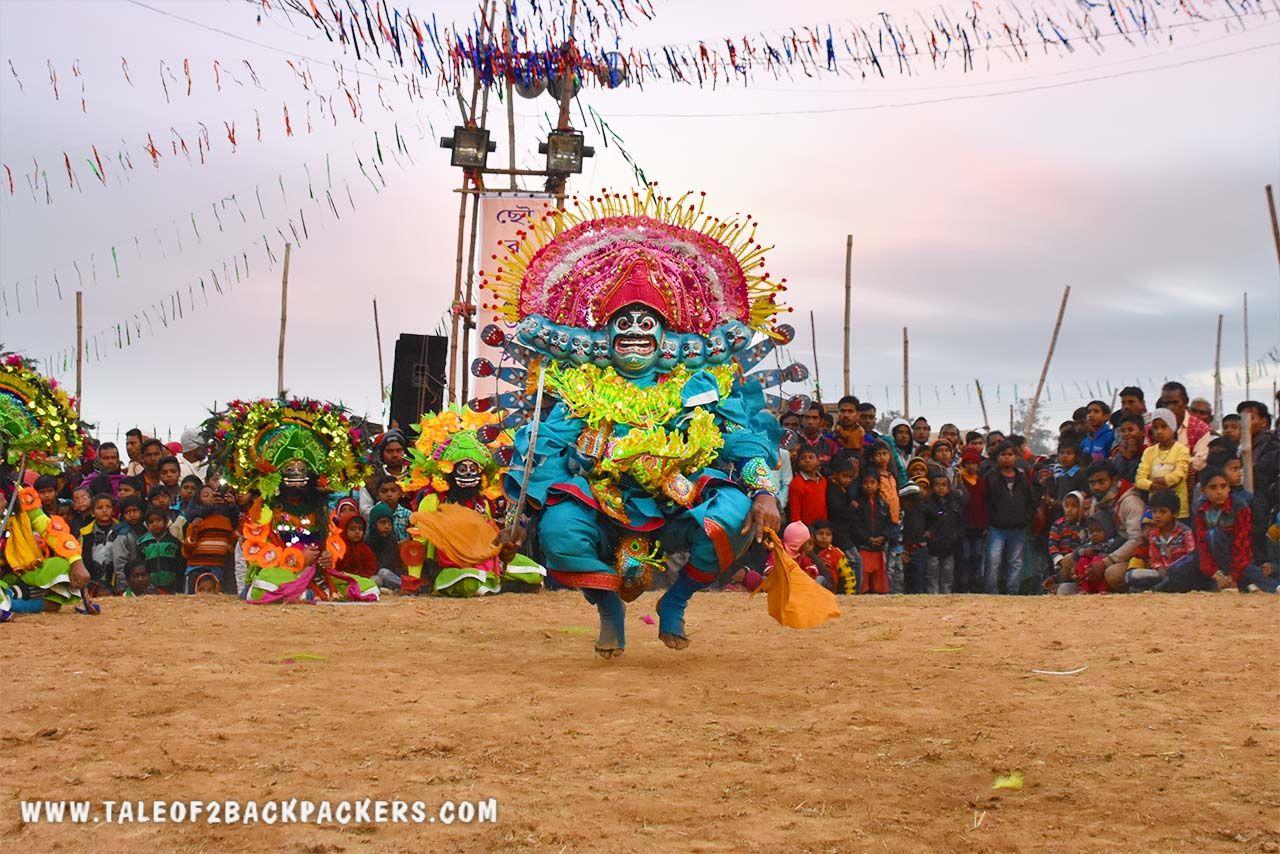 Acrobatic moves of the Chhau dance performers at Chhau-Jhumur Utsav at Purulia