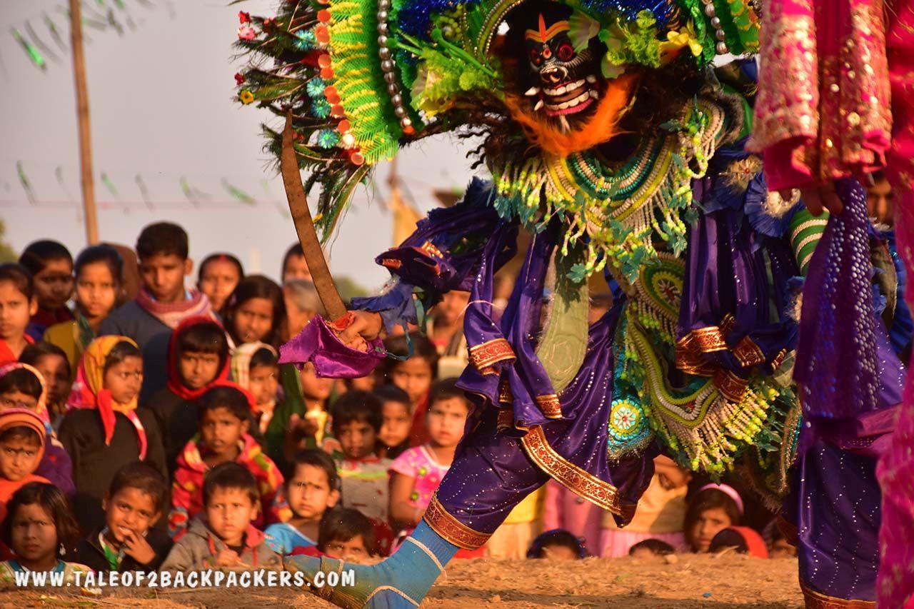 People watching Chhau dance in Purulia