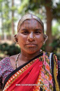 Tribal woman with facial tattoos at Daringbadi, Odisha