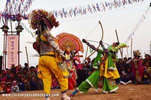 Goddess Durga and Lord Ram at Chhau dance in Bamnia, purulia