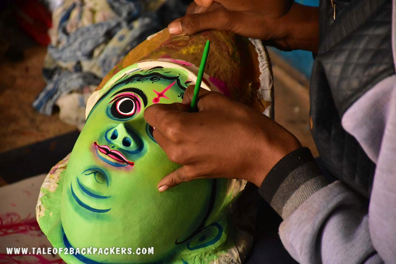 Making of Chhau mask at Charida in Purulia