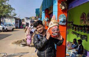 With a Purulia Chhau mask at Charida village
