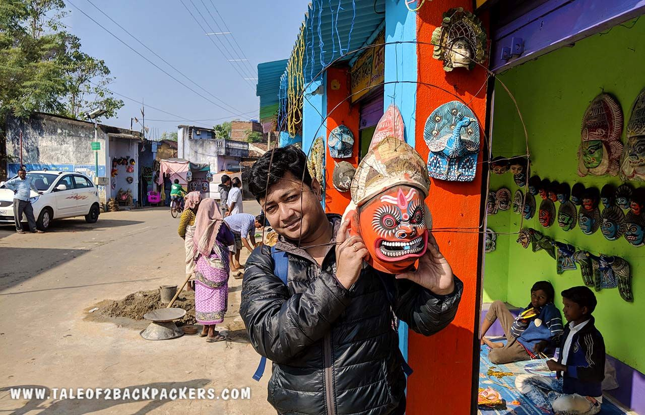 With a Purulia Chhau mask at Charida village